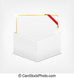Gift card with red corner ribbon in cardboard box