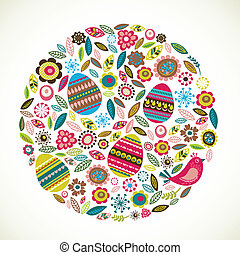 Easter greeting card with flowers and eggs, vector...