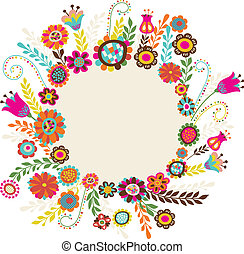 greeting card with flowers - Easter greeting card with...