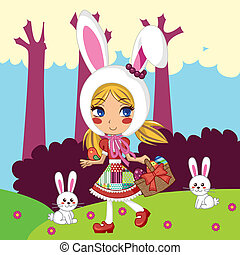 Little Bunny Girl - Sweet young girl walking in the forest...