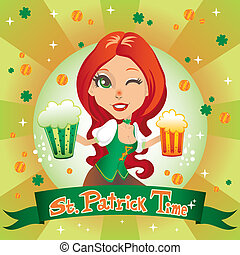 Saint Patrick Time - Saint Patrick day sexy red haired...