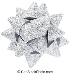 Silver glitter bow isolated on white clipping path included