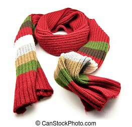 Multi-colored scarf, wrapped surrounded by white