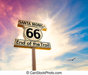 Route 66 - Landmark sign for Route 66