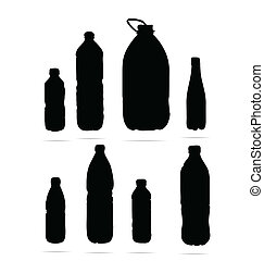 plastic bottles symbols set black color isolated