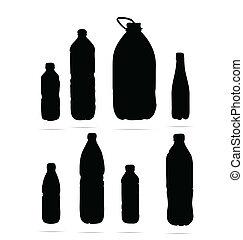 プラスチック, びん, シンボル, セット, 黒,...