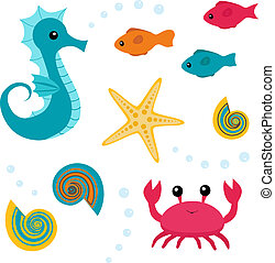 Cartoon sea life set 3 - Colorful set of sea life: seahorse,...