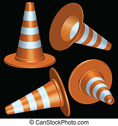 traffic cones with round base against black background,...