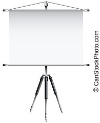 roller screen with tripod against white background, abstract...