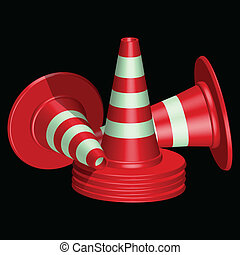 red traffic cones with round base against black background,...