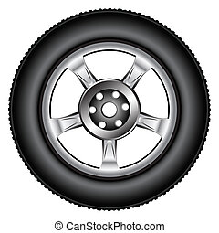 alloy wheel tyre against white background, abstract vector...