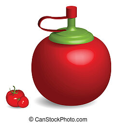 tomato sauce bottle and tomatoes against white background,...