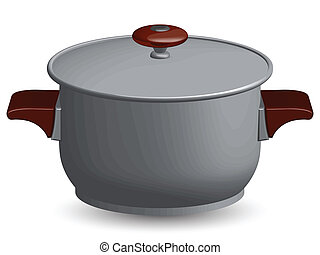 stainless steel pan against white background, abstract...