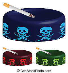 ashtray with skulls and cigarette