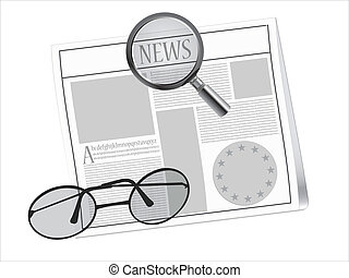 newspaper and glasses - newspaper, magnifying glass and...