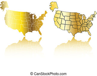 the vector gold usa map set