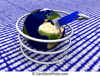 earth globe with network cable