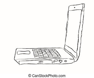 The laptop isolated on a white background