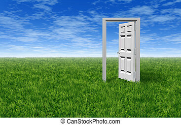 Door To Opportunity - Door to opportunity with a grass field...
