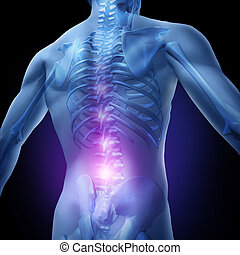 Lower Back Pain - Lower back pain and human backache with an...