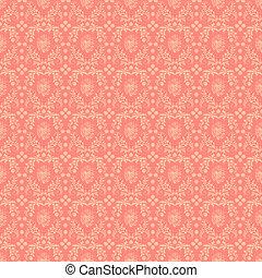 Seamless Pink Damask Background - Pale peachy pink ornate...