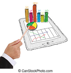 sketch computer tablet showing a spreadsheet with charts -...