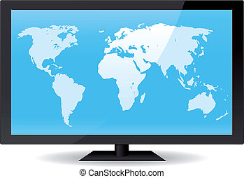 World Map On Flat Screen - Illustration of a world map...