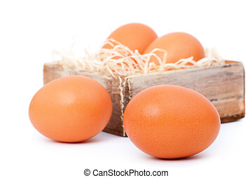 brown eggs, on white background
