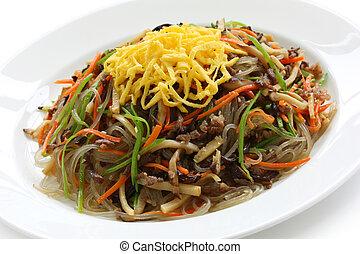 japchae, korean cuisine, on a white background