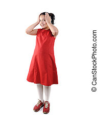 Adorable  preteen school  girl wearing red dress isolated, posing