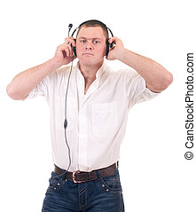 man listening to music on headphone