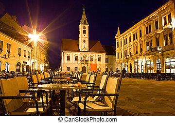 Baroque town of Varazdin city center at evening, Croatia
