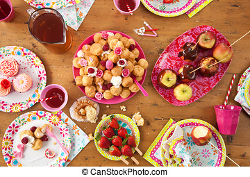 Table with birthday treats - Birthday table with treats just...