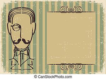 homem, rosto, bigode, retro, fundo, antigas, papel