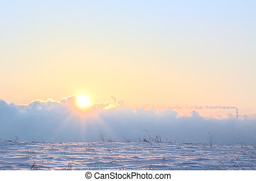 Winter sunwinter sun snow smoke field pipe