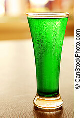 Cold green beer for stPatricks day holiday celebration