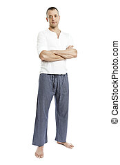 man in pajamas - An image of a handsome man in pajamas...