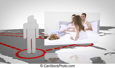 3d silhouettes appearing on a world map displaying videos...