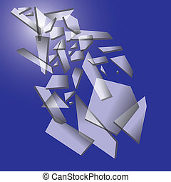 Falling pieces of broken glass on blue background. Vector...