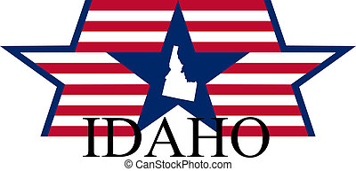 Idaho state map, flag, and name