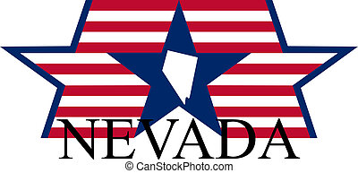 Nevada state map, flag, and name.