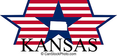 Kansas state map, flag, and name.