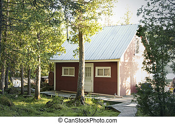 chalet in the forest - This is a little red chalet in the...
