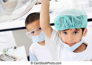Kids at hospital, Little doctors, playing surgeon