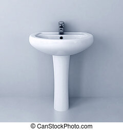 ceramic white washing sink with a modern faucet