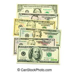 money  - stock of money isolated on white background