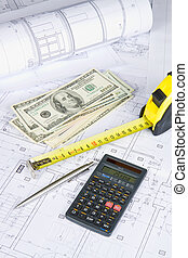 Architectural and financial - Dollars, measurement tape and...