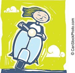 Scooter Ride - Fun image of a girl riding on a scooter