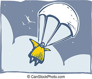 Parachute - Very fat person parachuting through the sky...