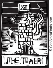 Tower Tarot - A woodcut style tarot card for the number 16...